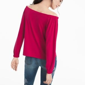 NWT WHBM OFF-THE-SHOULDER CREPE TOP